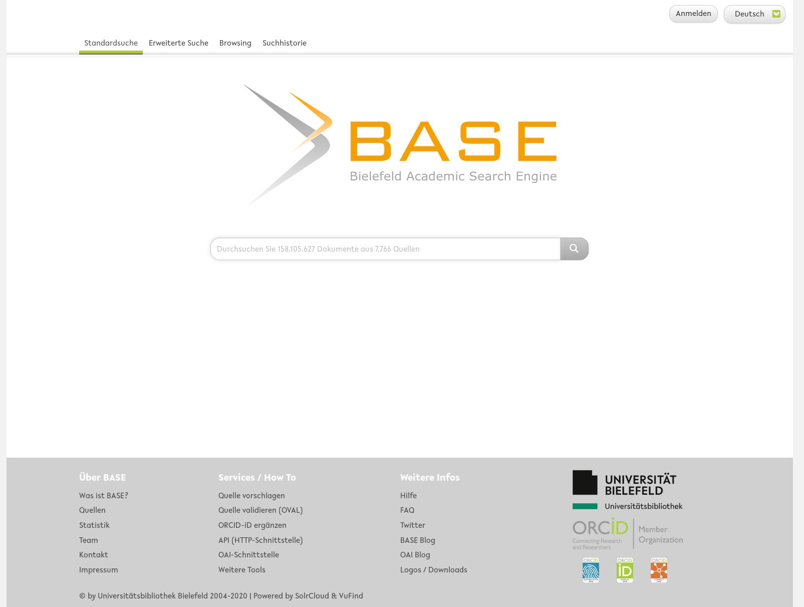 Zur BASE-Suchmaske